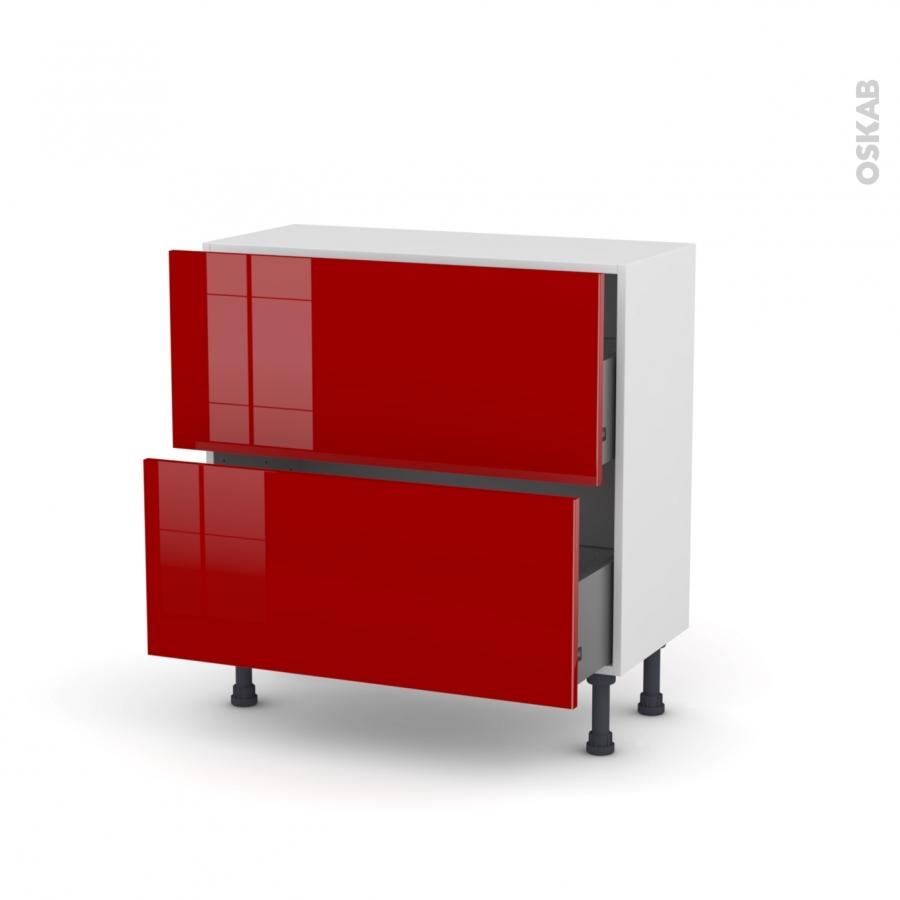 Meuble de cuisine casserolier stecia rouge 2 tiroirs l80 x for Meuble cuisine 2 tiroirs