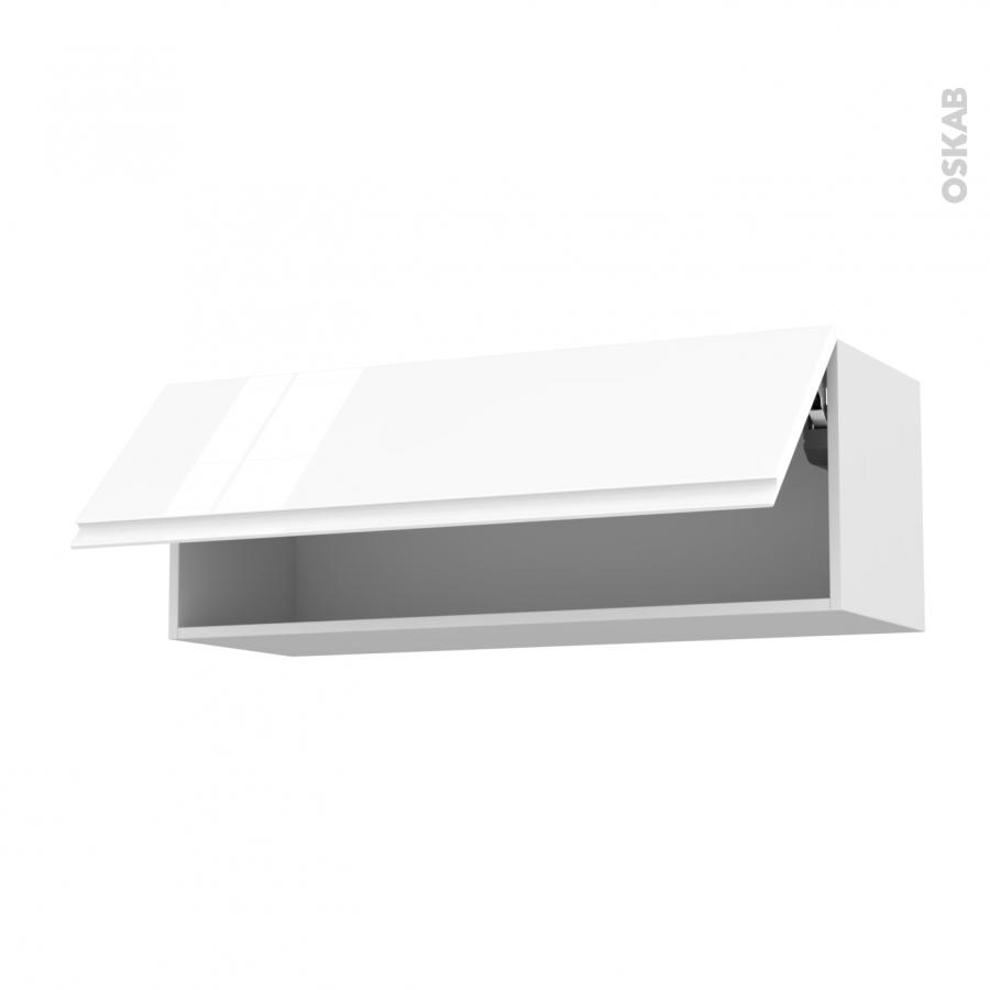 meuble de cuisine haut abattant ipoma blanc brillant 1 porte l100 x h35 x p37 cm oskab. Black Bedroom Furniture Sets. Home Design Ideas