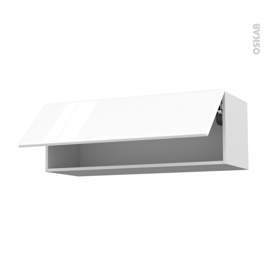 Meuble de cuisine haut abattant iris blanc 1 porte l100 x - Meuble haut de cuisine blanc ...