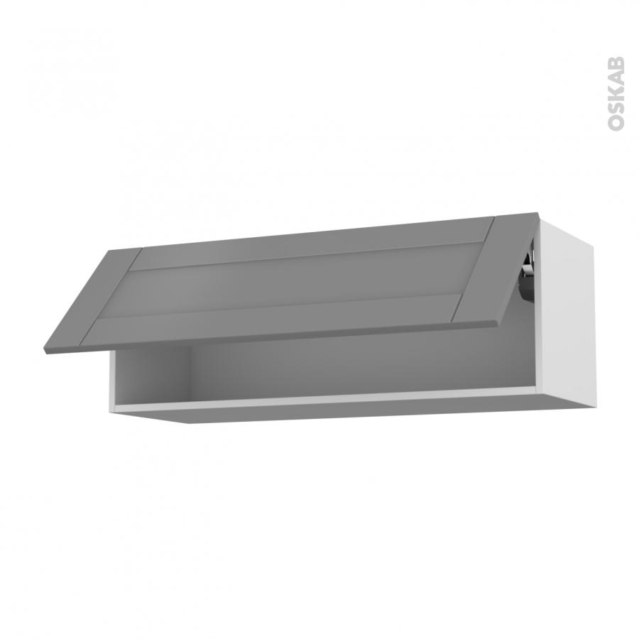 Meuble de cuisine haut abattant filipen gris 1 porte l100 for Meuble porte dossier
