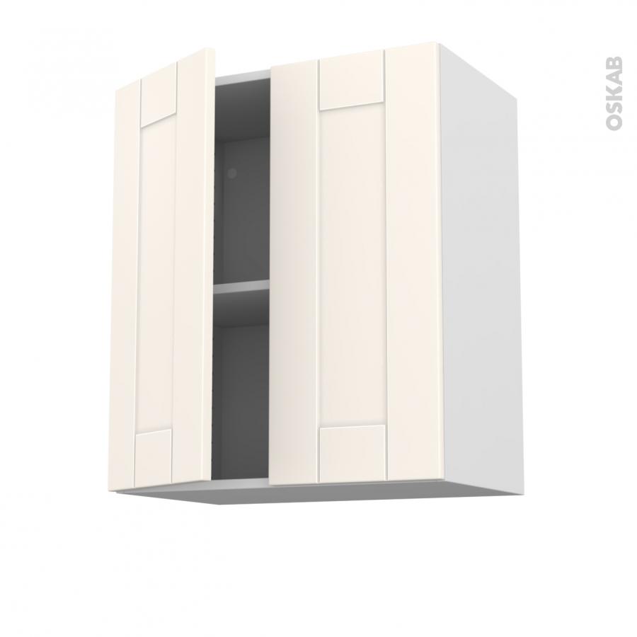 Meuble de cuisine haut ouvrant filipen ivoire 2 portes l60 for Meuble haut une porte