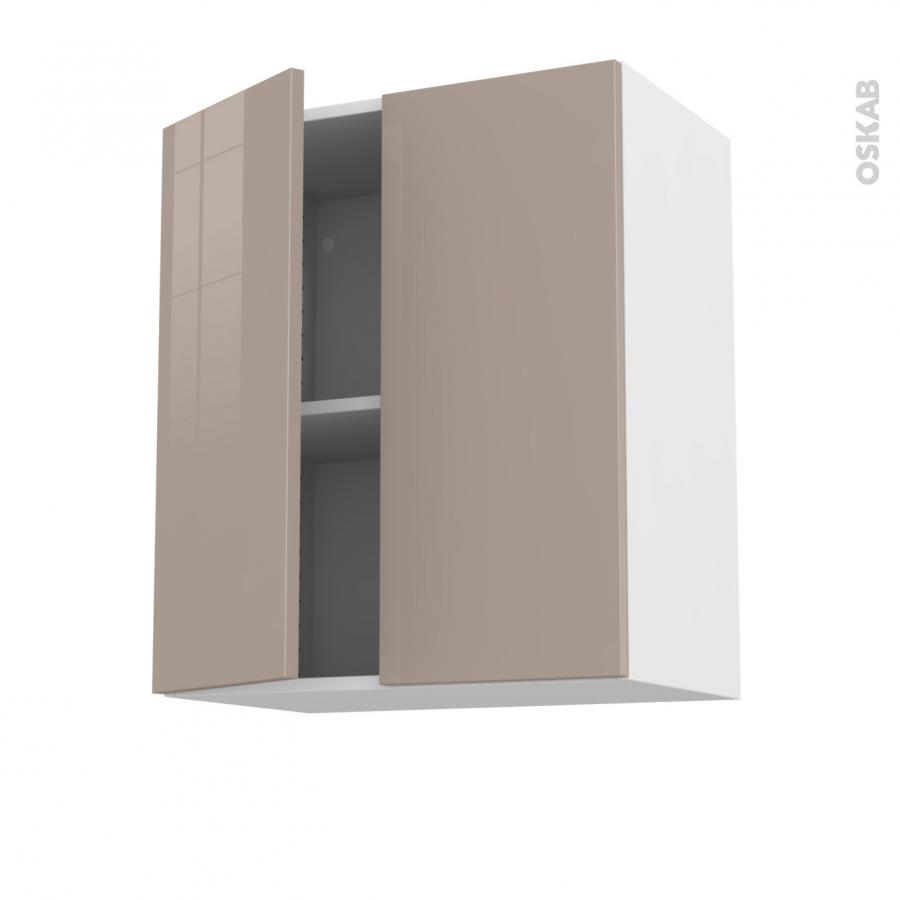 Meuble de cuisine haut ouvrant keria moka 2 portes l60 x for Meuble haut 110 cm