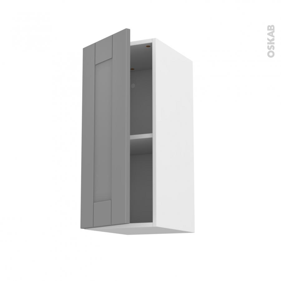 Meuble de cuisine haut ouvrant filipen gris 1 porte l30 x for Meuble porte electrique