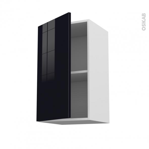 Meuble de cuisine haut ouvrant keria noir 1 porte l40 x - Meuble haut cuisine noir laque ...