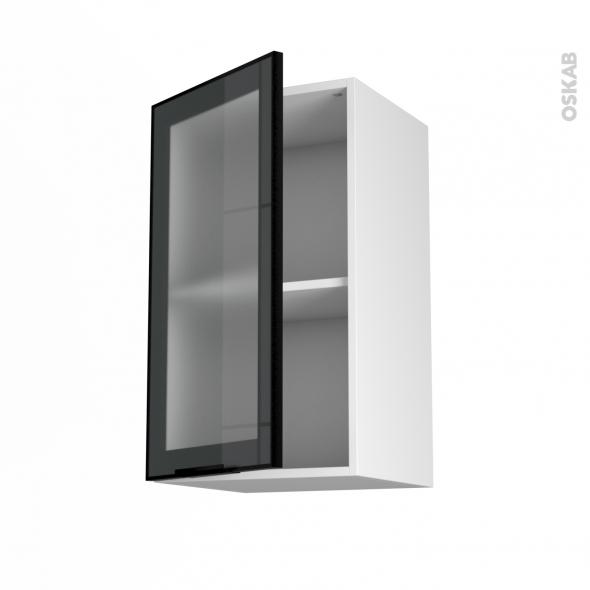 Meuble haut ouvrant h70 fa ade noire alu vitr e 1 porte for Meuble haut porte en verre