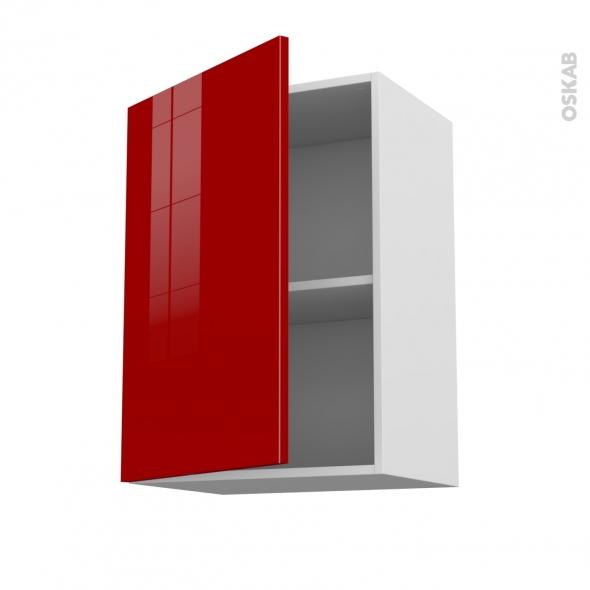 Meuble de cuisine haut ouvrant stecia rouge 1 porte l50 x for Modele porte de cuisine