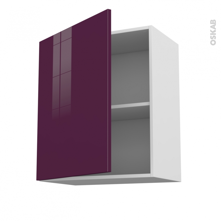 meuble de cuisine haut ouvrant keria aubergine 1 porte l60 x h70 x p37 cm oskab. Black Bedroom Furniture Sets. Home Design Ideas
