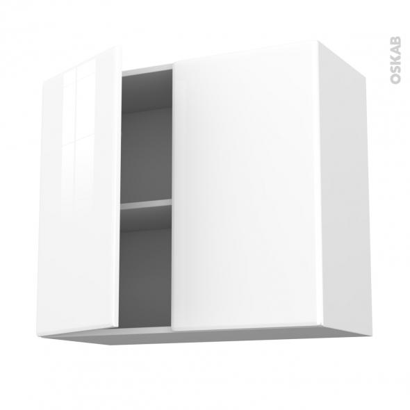 meuble de cuisine haut ouvrant iris blanc 2 portes l80 x h70 x p37 cm oskab. Black Bedroom Furniture Sets. Home Design Ideas