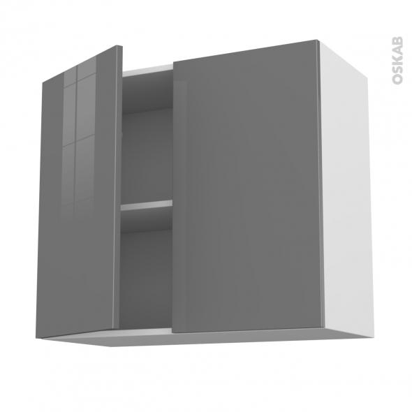 Meuble de cuisine haut ouvrant stecia gris 2 portes l80 x for Meuble haut porte pliante