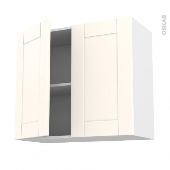 Meuble de cuisine haut ouvrant filipen ivoire 2 portes l80 for Meuble 70 cm de haut