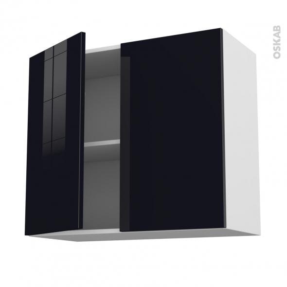 Meuble de cuisine haut ouvrant keria noir 2 portes l80 x - Meuble haut cuisine noir laque ...