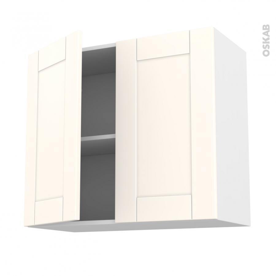 Meuble de cuisine haut ouvrant filipen ivoire 2 portes l80 for Meuble haut une porte