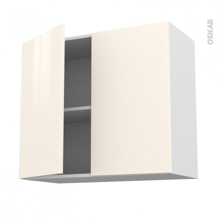 Meuble de cuisine haut ouvrant keria ivoire 2 portes l80 x for Meuble 70 cm de haut