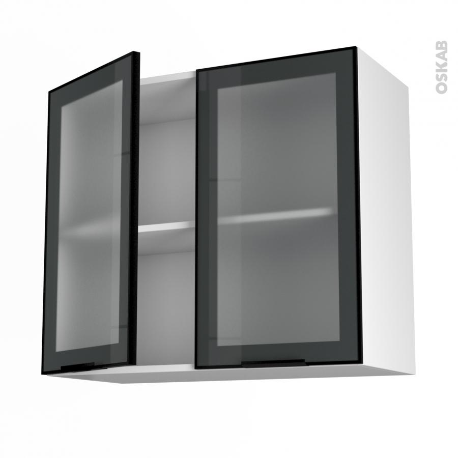 Element De Cuisine Haut Vitré : Meuble de cuisine haut ouvrant vitré façade noire alu