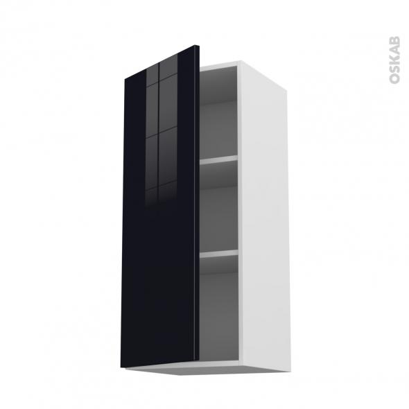 Meuble de cuisine haut ouvrant keria noir 1 porte l40 x for Porte cuisine 60 x 40