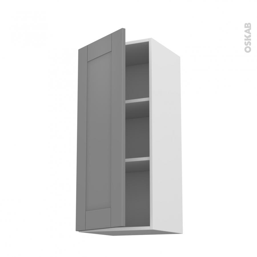 Meuble de cuisine haut ouvrant filipen gris 1 porte l40 x for Meuble haut une porte