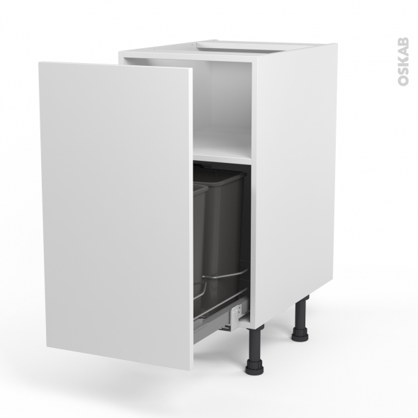 Meuble poubelle coulissant 1 porte l40xh70xp58 helio blanc - Poubelle de porte de cuisine ...