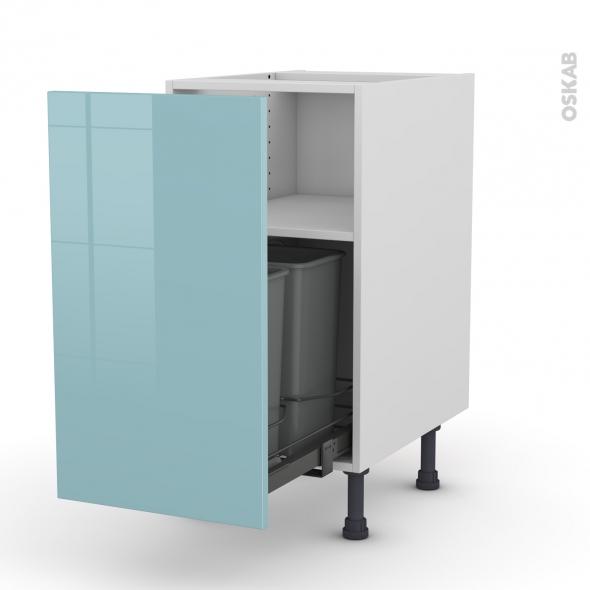 meuble de cuisine poubelle coulissante keria bleu 1 porte l40 x h70 x p58 cm oskab. Black Bedroom Furniture Sets. Home Design Ideas