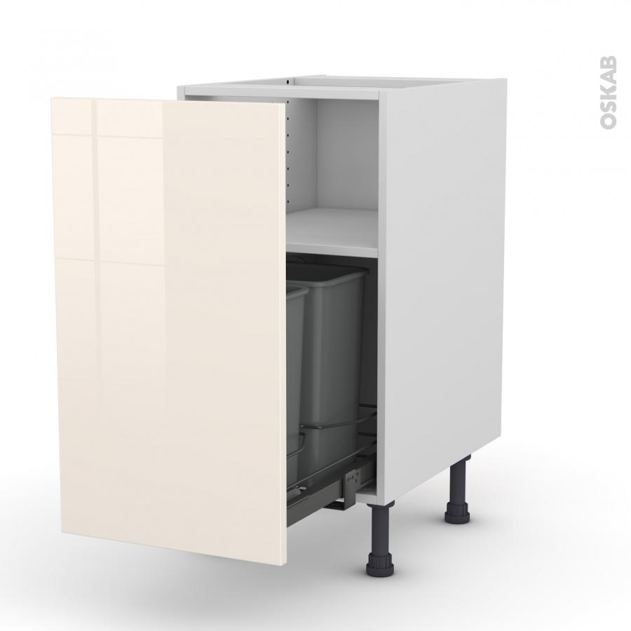 meuble de cuisine poubelle coulissante keria ivoire 1 porte l40 x h70 x p58 cm oskab. Black Bedroom Furniture Sets. Home Design Ideas