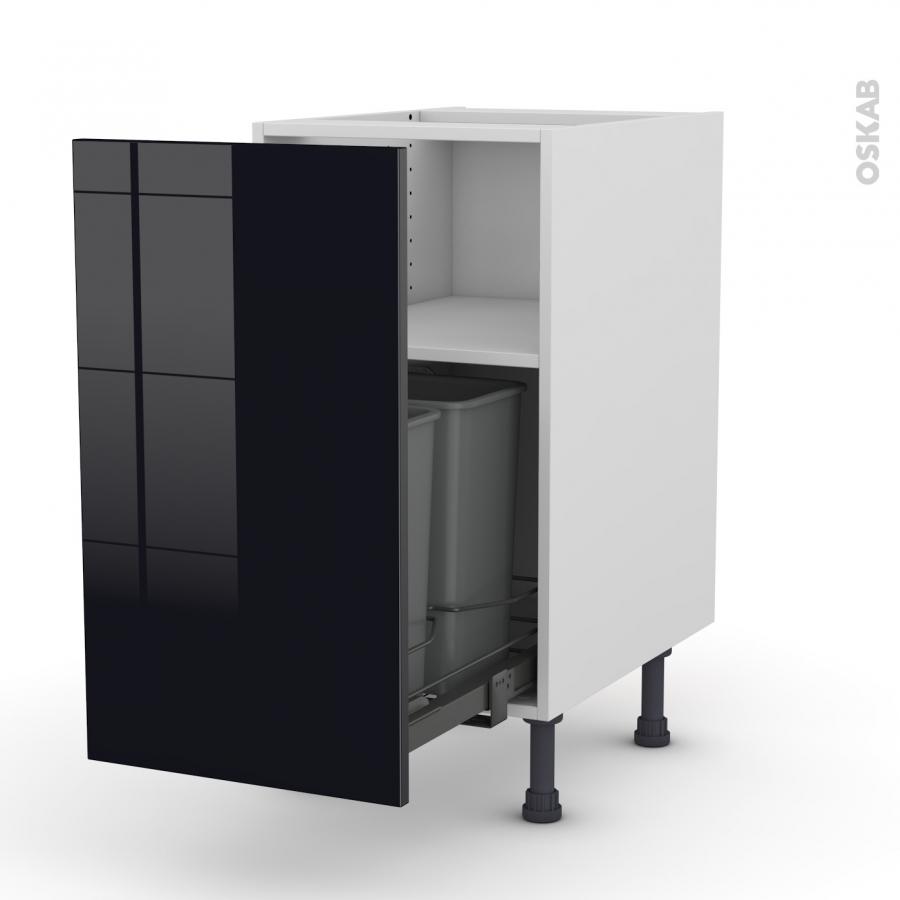 Meuble de cuisine poubelle coulissante keria noir 1 porte for Meuble noir porte coulissante