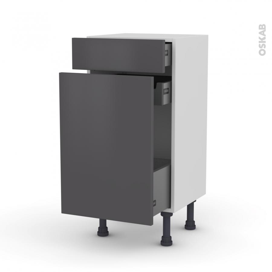 Meuble de cuisine range pice ginko gris 3 tiroirs l40 x h70 x p37 cm oskab - Meuble range epice 15 cm ...