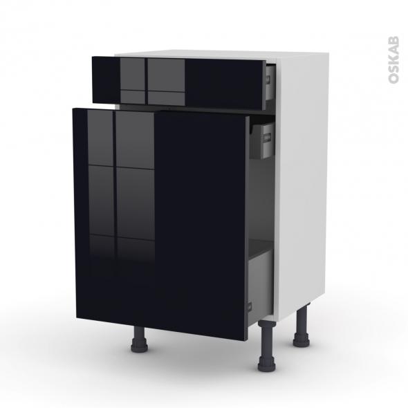 Meuble de cuisine range pice keria noir 3 tiroirs l50 x h70 x p37 cm oskab - Meuble range epice 15 cm ...
