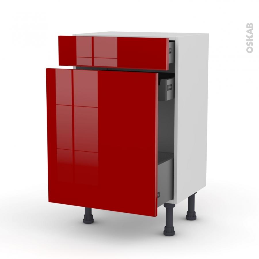 Meuble de cuisine range pice stecia rouge 3 tiroirs l50 x for Meuble cuisine 50 x 50