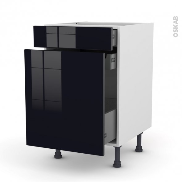 meuble de cuisine range pice keria noir 3 tiroirs l50 x. Black Bedroom Furniture Sets. Home Design Ideas