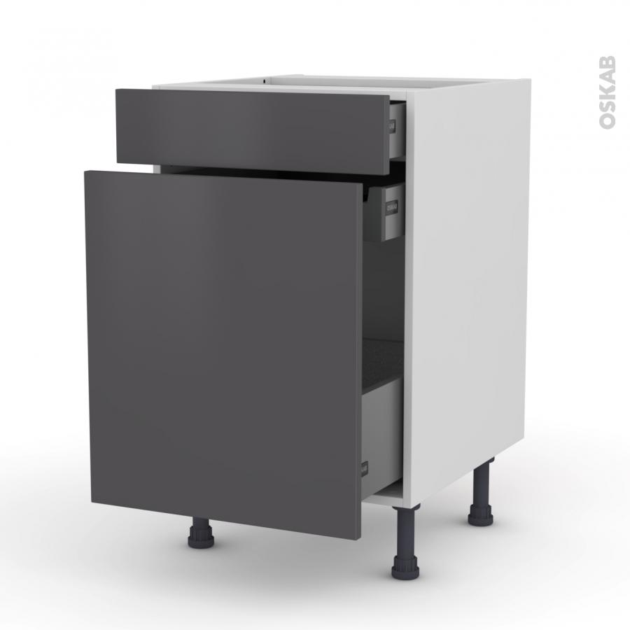 meuble de cuisine range pice ginko gris 3 tiroirs l50 x h70 x p58 cm oskab. Black Bedroom Furniture Sets. Home Design Ideas