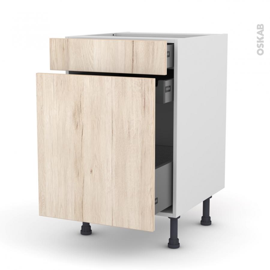 Meuble de cuisine range pice ikoro ch ne clair 3 tiroirs - Meuble range epice 15 cm ...