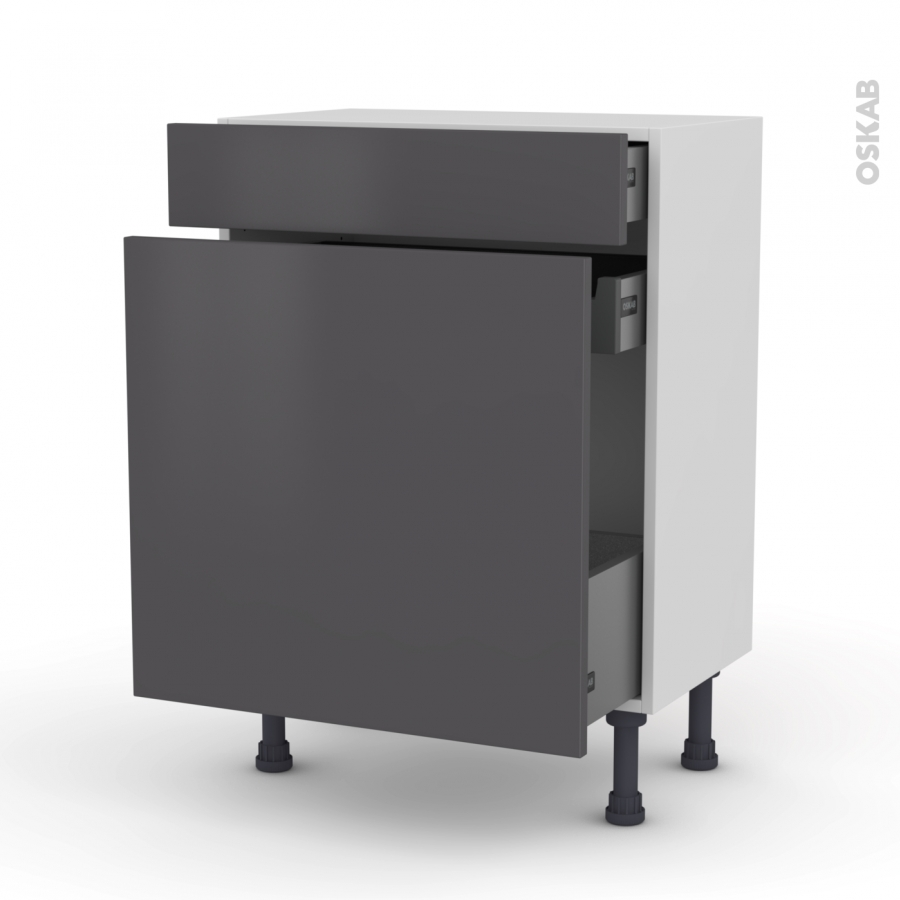 meuble de cuisine range pice ginko gris 3 tiroirs l60 x h70 x p37 cm oskab. Black Bedroom Furniture Sets. Home Design Ideas