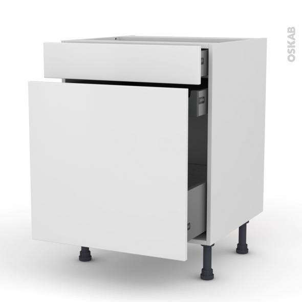 Meuble de cuisine range pice ginko blanc 3 tiroirs l60 x h70 x p58 cm oskab - Meuble range epice 15 cm ...