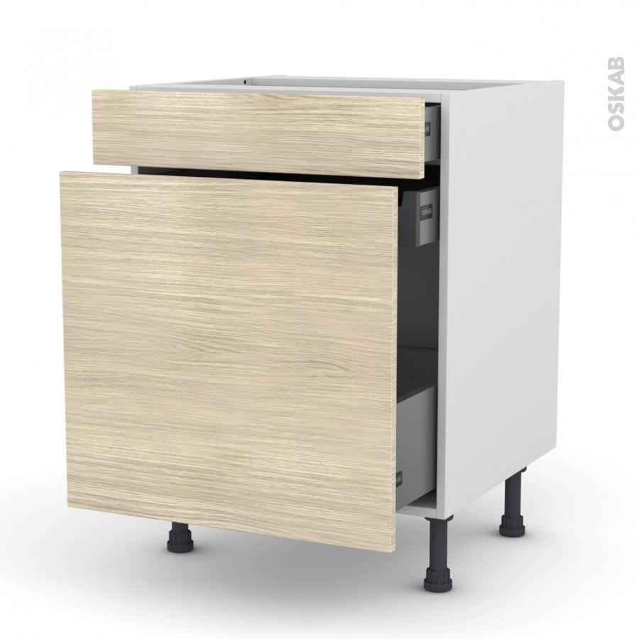 meuble de cuisine range pice stilo noyer blanchi 3 tiroirs l60 x h70 x p58 cm oskab. Black Bedroom Furniture Sets. Home Design Ideas