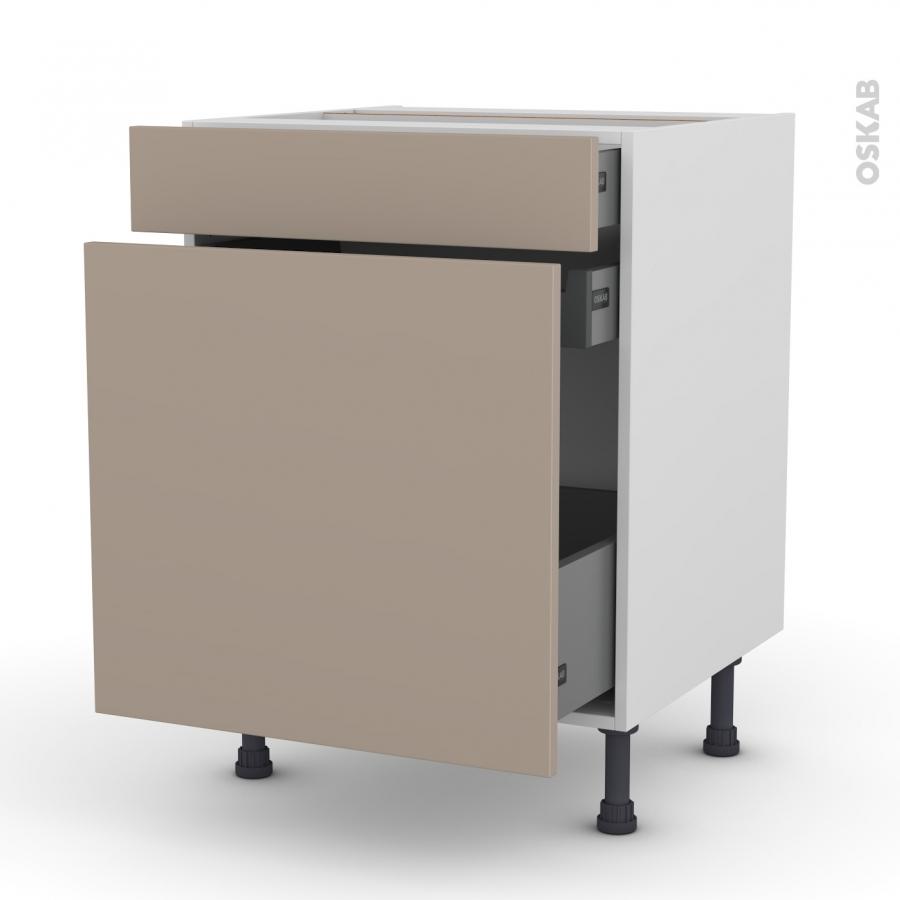 meuble de cuisine range pice ginko taupe 3 tiroirs l60 x. Black Bedroom Furniture Sets. Home Design Ideas