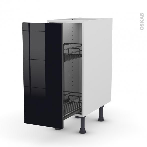 Meuble de cuisine range pice epoxy keria noir 1 porte l30 x h70 x p58 cm oskab - Meuble range epice 15 cm ...