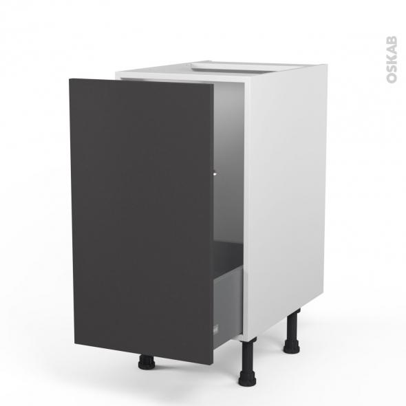 Ginko gris meuble sous vier 1 porte coulissante for Modele porte cuisine