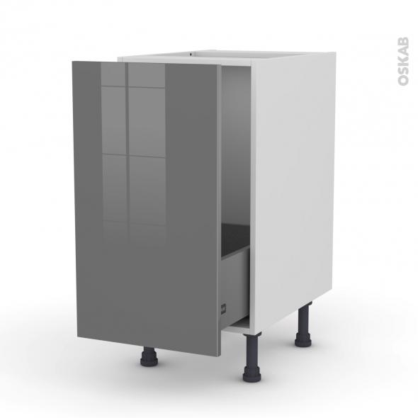 meuble sous vier 1 porte coulissante l40xh70xp58 stecia gris oskab. Black Bedroom Furniture Sets. Home Design Ideas