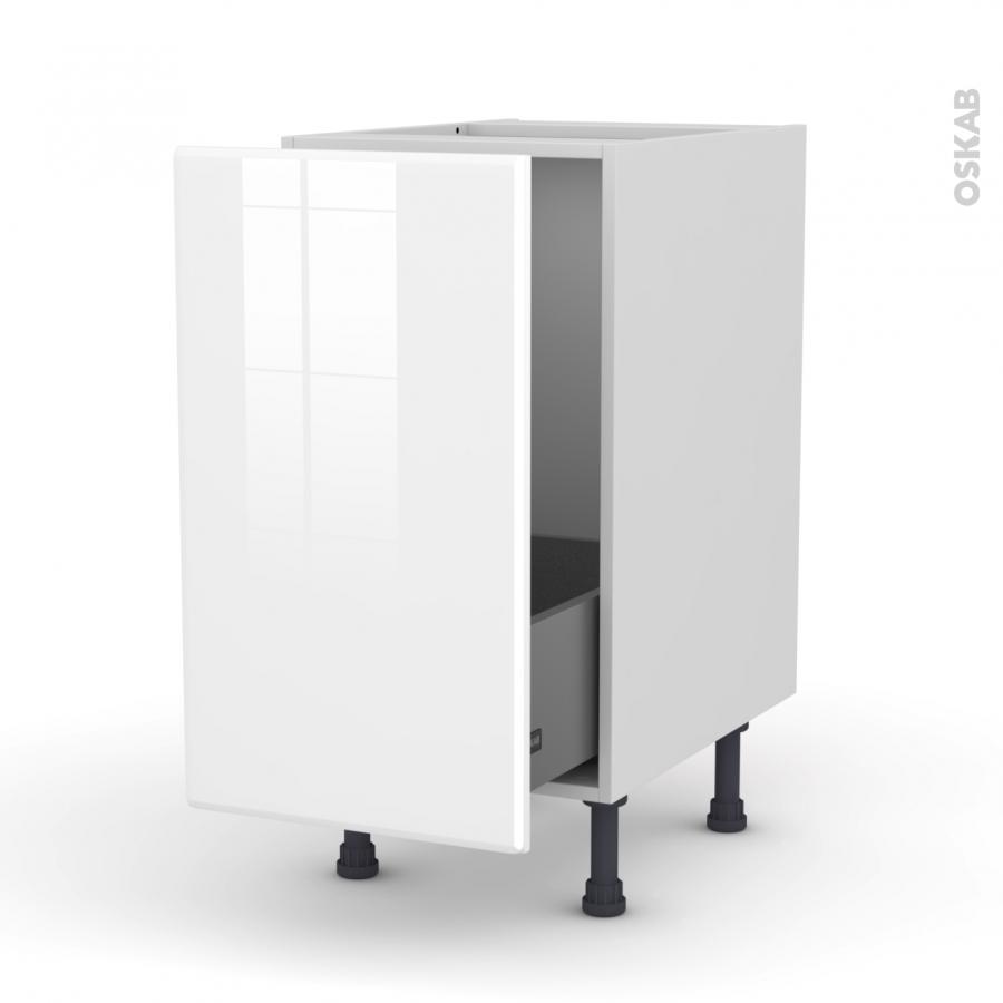meuble de cuisine sous vier iris blanc 1 porte coulissante l40 x h70 x p58 cm oskab. Black Bedroom Furniture Sets. Home Design Ideas