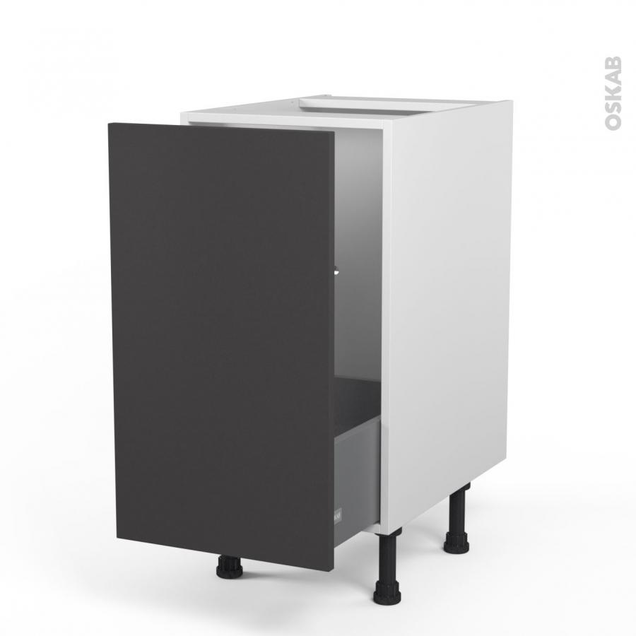 Meuble de cuisine sous vier ginko gris 1 porte coulissante l40 x h70 x p58 cm oskab - Meuble cuisine porte coulissante ...