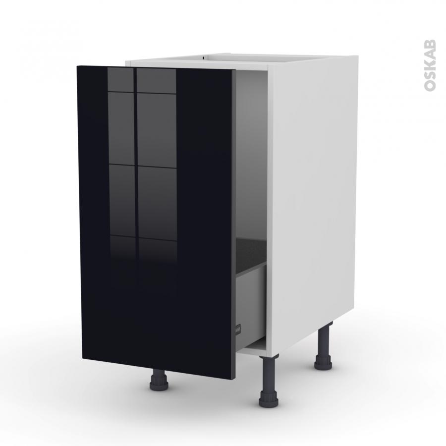 Meuble de cuisine sous vier keria noir 1 porte coulissante l40 x h70 x p58 cm oskab for Meuble noir porte coulissante
