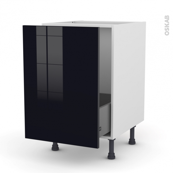 meuble de cuisine sous vier keria noir 1 porte coulissante l50 x h70 x p58 cm oskab. Black Bedroom Furniture Sets. Home Design Ideas