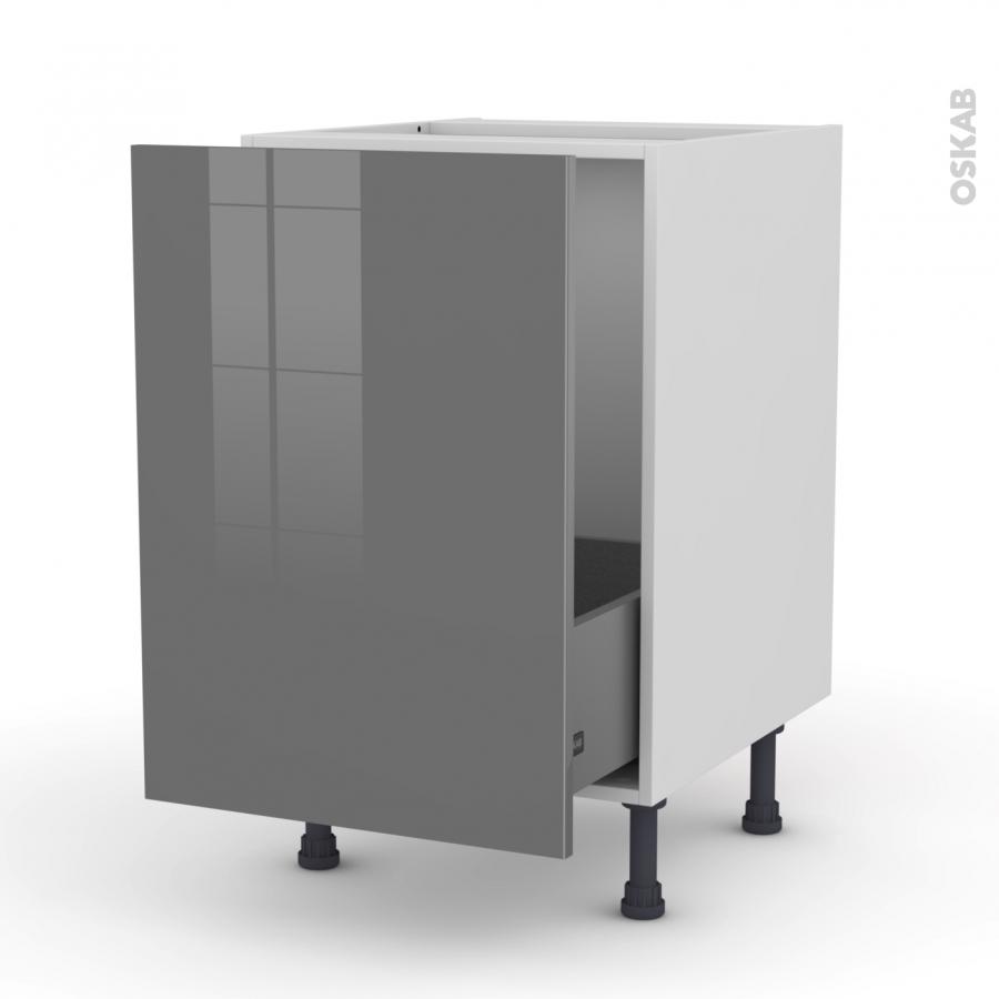 Meuble de cuisine sous vier stecia gris 1 porte for Meuble cuisine porte coulissante
