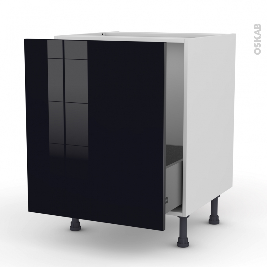 meuble de cuisine sous vier keria noir 1 porte coulissante l60 x h70 x p58 cm oskab. Black Bedroom Furniture Sets. Home Design Ideas