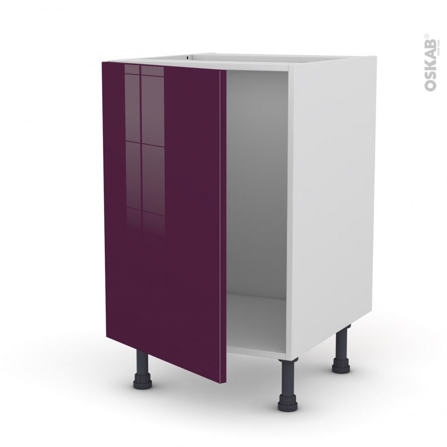 Meuble de cuisine sous vier keria aubergine 1 porte l50 x Facade meuble cuisine largeur 50