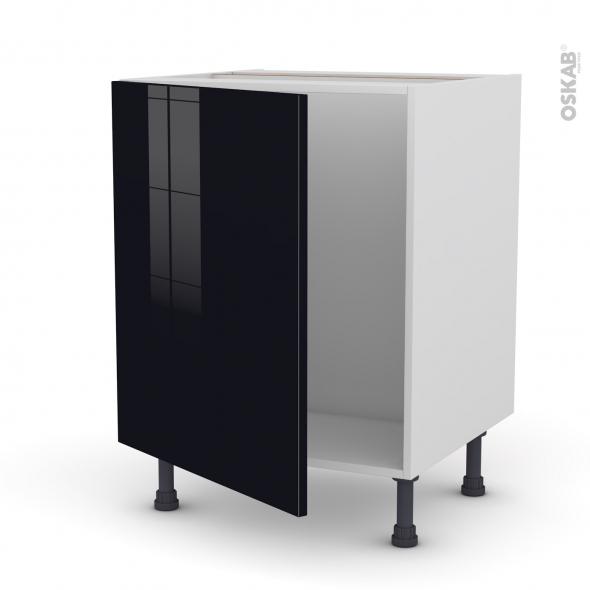 Keria noir meuble sous vier 1 porte l60xh70xp58 oskab for Meuble porte evier