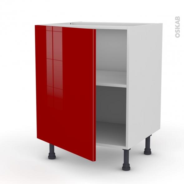 Meuble de cuisine sous vier stecia rouge 1 porte l60 x for Evier cuisine largeur 60 cm