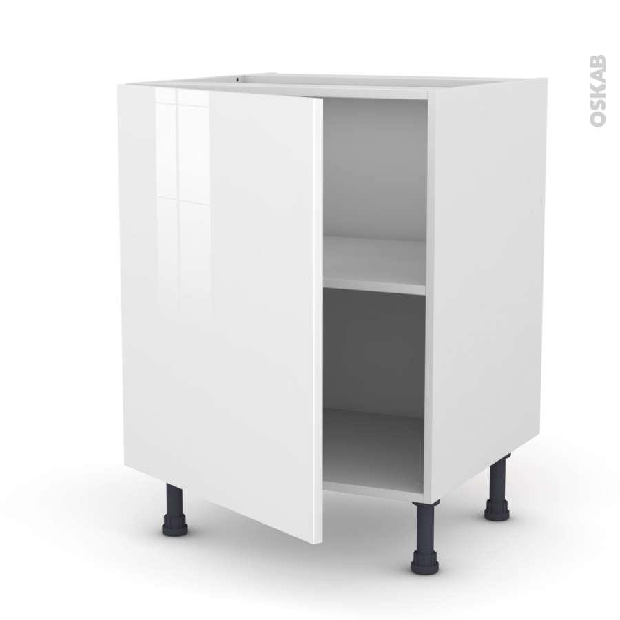 Meuble sous vier 1 porte l60xh70xp58 stecia blanc oskab for Cuisine oskab