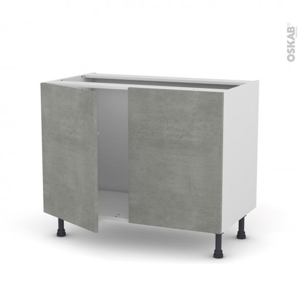 Fakto b ton meuble sous vier 2 portes l100xh70xp58 oskab for Modele meuble de cuisine