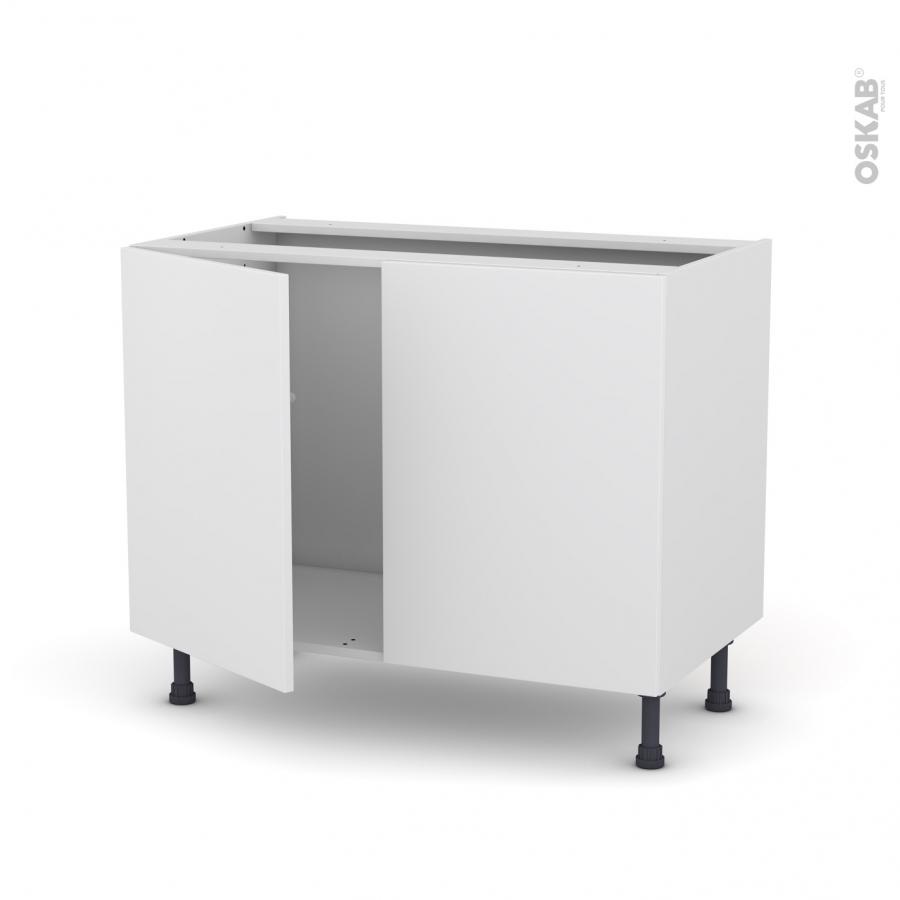 Meuble de cuisine sous vier ginko blanc 2 portes l100 x for Meuble evier 100