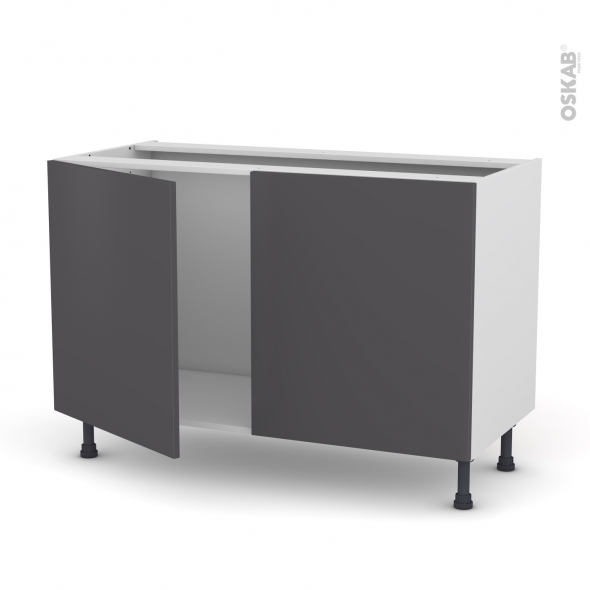 meuble de cuisine sous vier ginko gris 2 portes l120 x h70 x p58 cm oskab. Black Bedroom Furniture Sets. Home Design Ideas